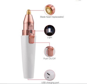 Portable Painless USB Razor Brows Hair Remover Rechargeable 2 in 1 Pen Electric Eyebrows Remover Trimmer