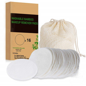 Pure high quality face skin cleansing cotton pads with mesh bags