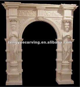 Stone carved lady decoration door frame(WEC027)