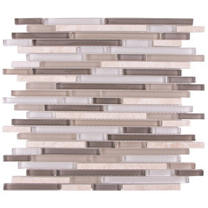 Strip natural marble mix crystal clear glass mosaic wall tile Foshan decorative indoor/outdoor stone and glass mosaic