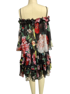 Summer 2020 new style girl-on-shoulder halter with a print chiffon frilly dress with flabbergasted neck