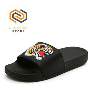 Summer fashion tiger soft thick anti-slip bathroom home beach slides mens casual slippers