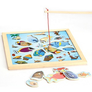 Wholesale Children Magnetic Fishing Toy Set Fish Game Wooden Educational Professional Kindergarten for Kids Toddlers 3+