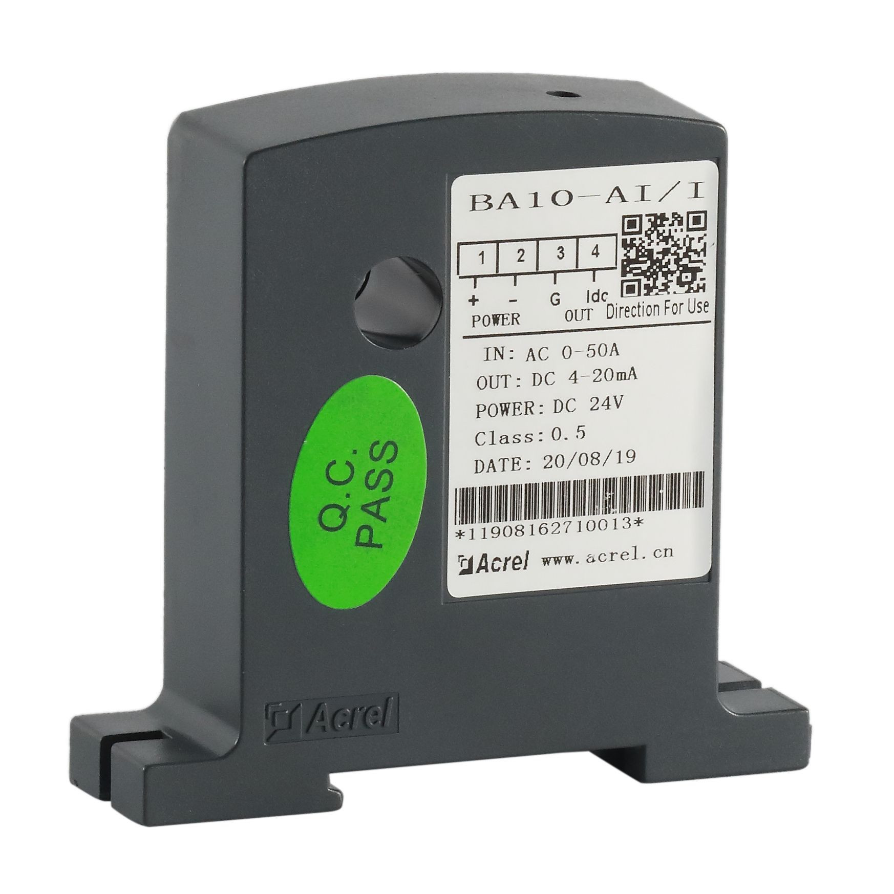 Acrel 300286.SZ direct-in AC current 0-50A current transmitter BA10- AI/I with 4-20mA analog output