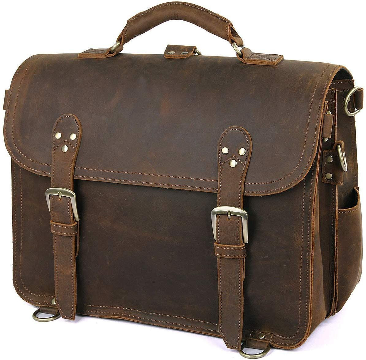 Leather Messenger Bag Casual Designer Travel Briefcase Business bag 16 inches (Brown)