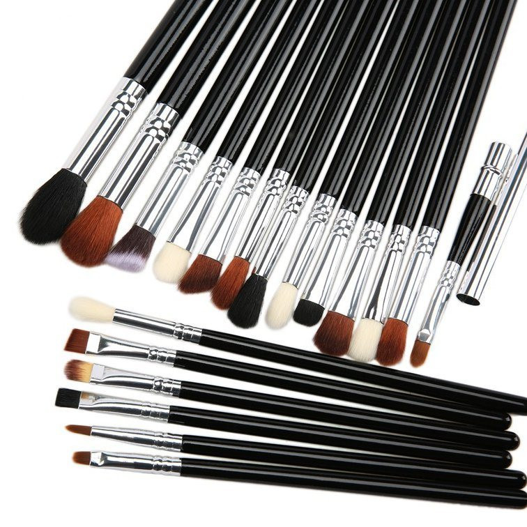 18PCS Natural Hair Cosmetic Makeup Brush Set with Zipper Pouch