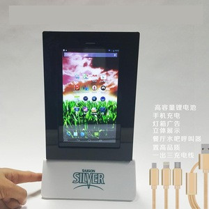 2017 innovative product for coffee shop menu power bank menu one side video and Service Call pager