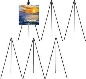 "Adjustable 63"" inch Collapsible Foldable Easy Instant Stand Tripod Metal Easel for Artist artworks Presentation displaying"