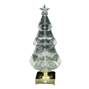Clear led sparkling water inside revolving christmas tree top star acrylic led light with golden base holiday decoration
