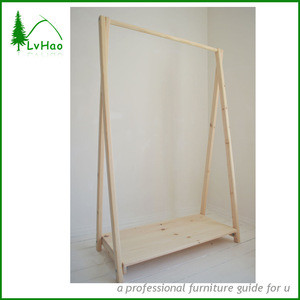 Clothes Shelf Hanging Cloth Rack From Pine Wood In Bedroom