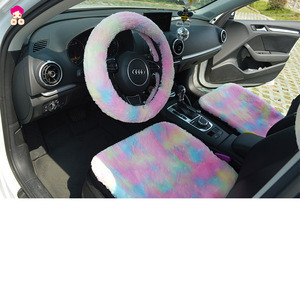 Colorful  Car Steering Wheel Covers Plush  Interior Accessories Girls Women