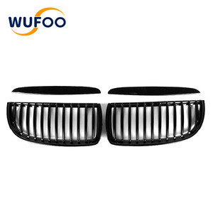For BMW 05-08 3 Series E90 ABS Single Slat Glossy Black Auto Car Front Bumper Grille