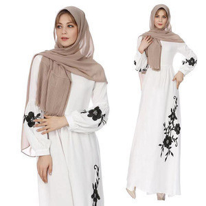 Hot Sale fashion islamic clothing Women Long Sleeve Chiffon Dress muslim embroidery dress abaya