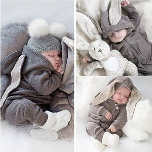 IH-BB001 cute baby rompers rabbit baby fur coat clothes autumn coat