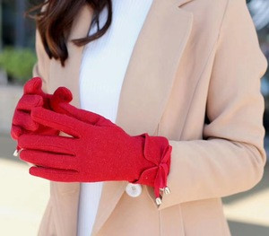 Lady Women Bowknot Woolen Mix Touch Screen Gloves With Flannel Lining