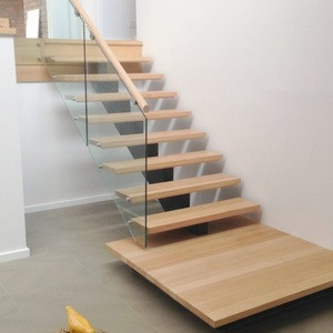 Luxury customized wooden handrail glass railing wood stairs