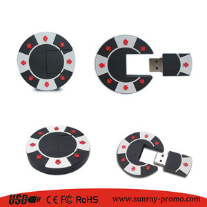 Unique promo gift custom shape poker chip usb flash drive for event