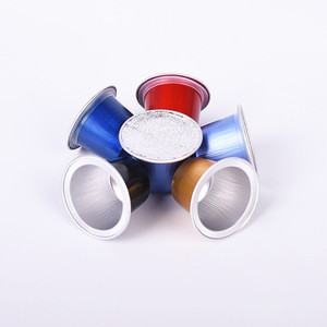 Wholesale colorful empty aluminum foil capsule nespresso coffee capsules with sticker lid producer
