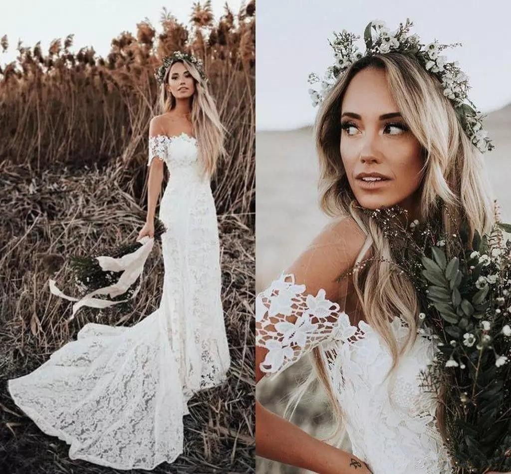 Beach Bohemian Wedding Dresses Sexy Backless Long Sleeve Country Boho Bridal Gowns  Custom Made Wedding Dress