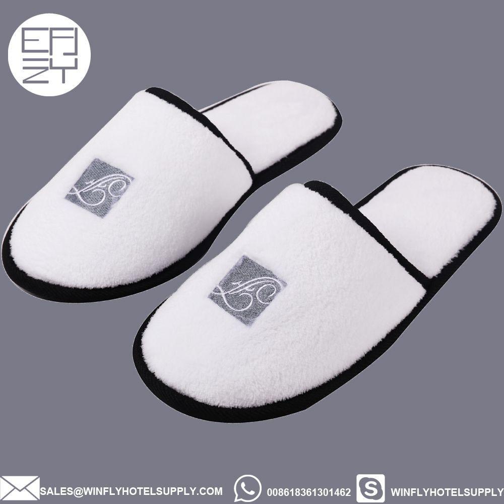 Wholesale custom logo hotel slipper/personalized coral velour slipper