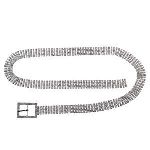 2020 supply  luxury elegant women silver chain ladies full diamond rhinestone bling waist belt