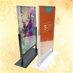 A4 acrylic metal base Makeup Scissors store display Under Eye Pads poster stand Face Lotion sign holder