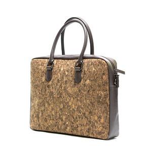 Cork leather laptop bag briefcase men's business carrier shoulder strap eco friendly