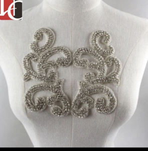 Fashion style silver bodice hotfix crystal applique& trim belt for wedding dress