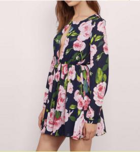 Fashion women summer long sleeve floral evening party dress summer beach dress