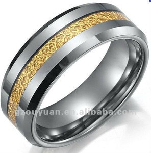 Fashionable Tungsten Mens Wedding Band Ring set with Gold Foil Inlay,2012 hot sell newest design