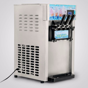 Frozen Yogurt Ice Cream Maker with LCD Display Mix 3 Flavors 110V Commercial Soft Serve Ice Cream Machine