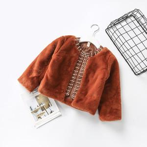FS0656A 2018 winter new design girls faux fur coat children's boutique clothing