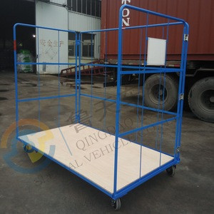 Furniture Corlettes Steel wire roll cage Supermarket roll container Collapsible rolling storage cage