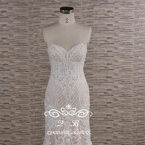 Glamorous strapless dubai beaded lace mermaid wedding dress