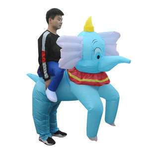 Halloween Blow Up Riding On Animal Costume Enjoyment Big Inflatable Elephant Mascot Costume Adults For Sale