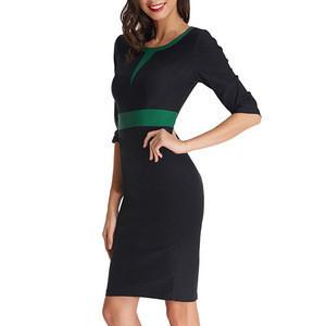Low MOQ Colorblock Retro 3/4 Sleeve Pencil Dress Formal Business Work Dress