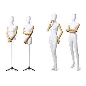 Newest wholesale half/full body female chrome display gold mannequin