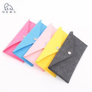 Promotional portable Felt envelop bag felt Pencil Case Stationery Pouch Felt Pen Pouch Holder with button
