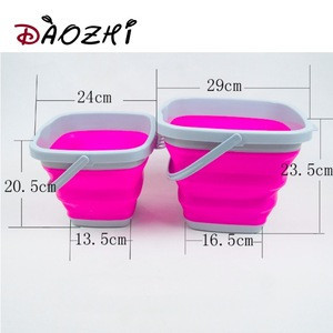 Square middle big size 5L 10L PP and TPE plastic folding bucket pail storage bucket for sand