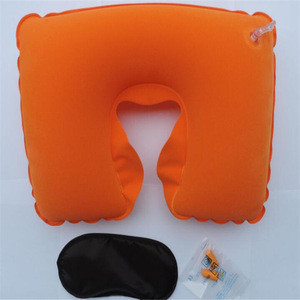 Three  in 1 Sleeping Inflatable Travel Pillow and Eye Mask with Ear Plug and Pouch