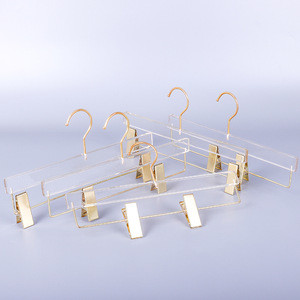Wholesale custom logo clear acrylic clip pants dress skirt display trousers hangers with gold clips