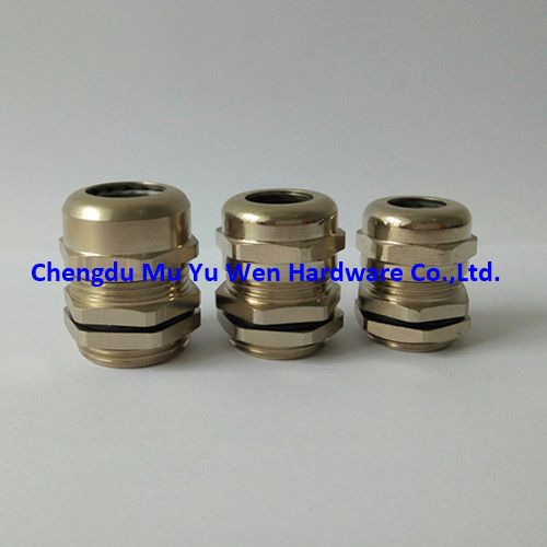 Liquid tight nickel plated brass cable gland with metric thread