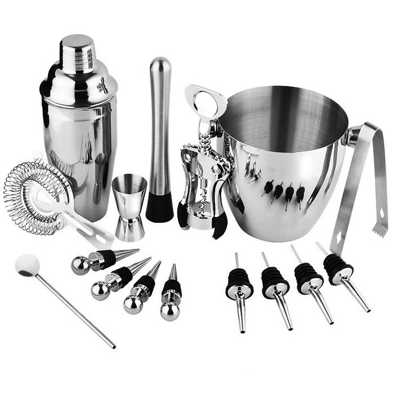 16 Piece  Stainless Steel Ultimate Bartender Kit with 25 Ounce Shaker, Ice Bucket & Accessories Cocktail Wine Set