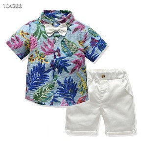 2017 Fashion Europe and the United States style boy Casual floral shirt with white jeans shorts