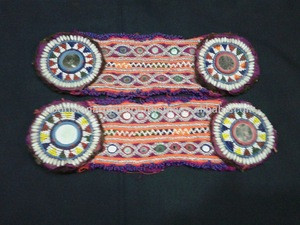 Afghan tribal beaded kuchi belt with guls