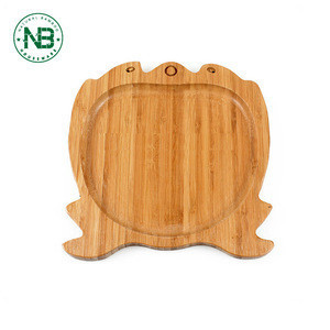 Cartoon style design wooden food board serving tray bamboo vegetable dish