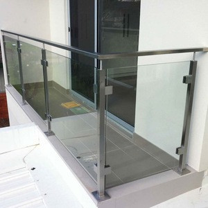 European Standards Balcony Glass Railing with Square Pipe Baluster