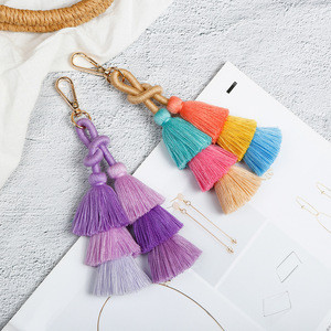 Fashion Colorful Multilevel DIY Handbag Accessories Cotton Tassel Keychain For Bag Decoration