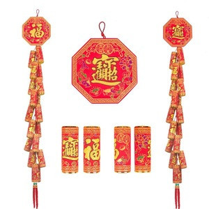 High quality high-simulation chinese New Year ornaments long string wall hanging flannelette firecrackers for home decor