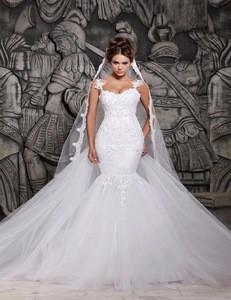 Lace Mermaid Bridal Gowns Spaghetti Arabic Tulle Wedding Dress L191163
